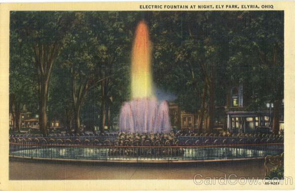 Electric Fountain At Night, Ely Park Elyria Ohio