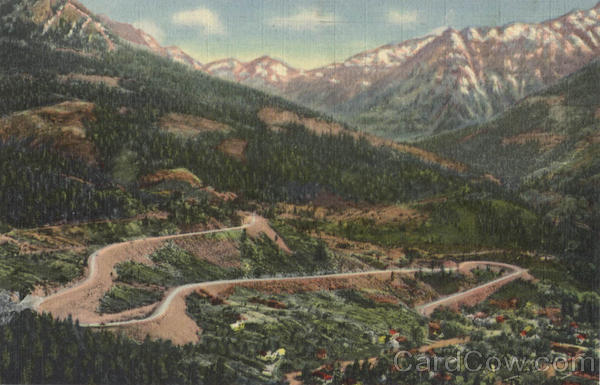 Switchbacks Rising out of Ouray on The Million Dollar Highway Scenic Colorado