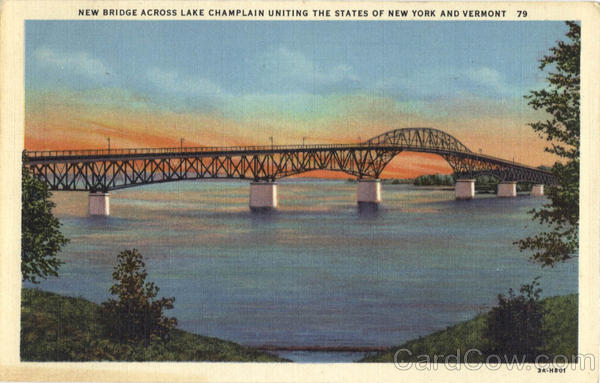 New Bridge Across Lake Champlain Uniting the States of New York and Vermont Scenic