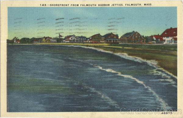 Shorefront From Falmouth Harbor Jetties Massachusetts