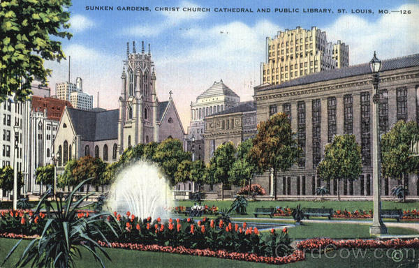 Sunken Gardens, Christ Church Cathedral And Public Library St. Louis Missouri