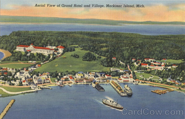 Aerial View of Grand Hotel and Village Mackinac Island Michigan
