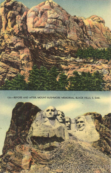 Before and After, Mount Rushmore Memorial Black Hills South Dakota