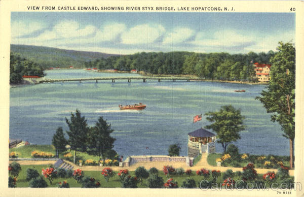 View from Castle Edward, River Styx Bridge Lake Hopatcong New Jersey