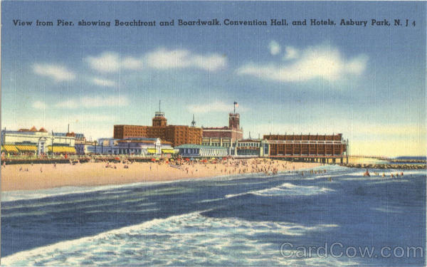 View from Pier, showing Beachfront and Boardwalk, Convention Hall, and Hotels Asbury Park New Jersey