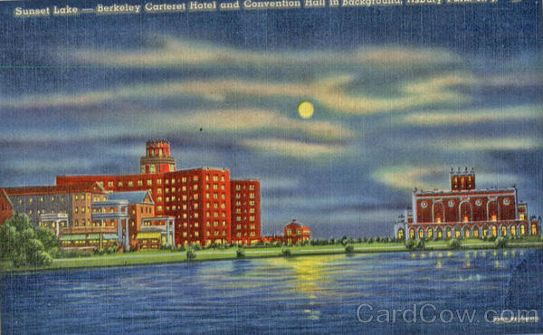 Sunset Lake - Berkeley Carteret Hotel and Convention Hall in Background Wildwood Crest New Jersey