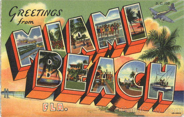Greetings from Miami Beach Large Letter Florida