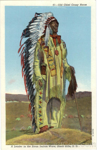 Old Chief Crazy Horse, A Leader in Sioux Indian Wars Black Hills South Dakota