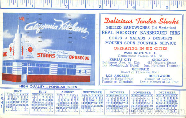 California Kitchens Diner 1941 Calendar Restaurants