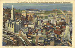 Aerial View of Downtown Cleveland, showing Lakefront in Background Postcard