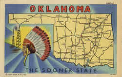 Oklahoma Map Postcard - The Sooner State