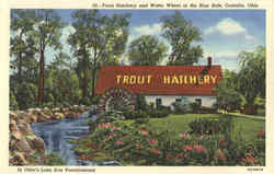 Trout Hatchery and Water Wheel at the Blue Hole Postcard
