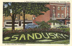 Floral Emblem in Washington Park and F.O.O.E. Bldg. Postcard