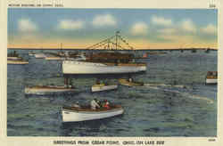 Motor Boating on Sunny Seas, Cedar Point Postcard
