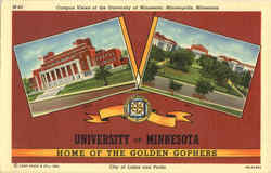 Campus Views of the University of Minnesota Postcard