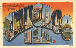 Greetings from Chicago Large Letter Postcard