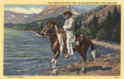Indian on Pinto Pony in Glacier National Park