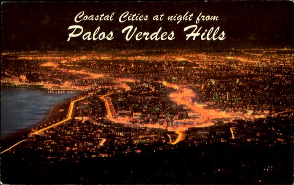 Coastal Cities At Night From Palos Verdes Hills Los Angeles California