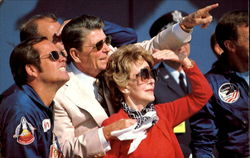 The Reagans Watch The Landing Of The Columbia