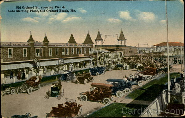 Old Orchard St. Showing Pier & Auto Meeting Place Old Orchard Beach Maine