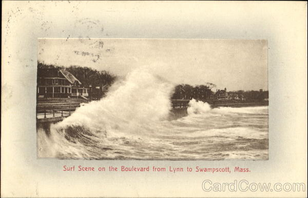 Surf Scene On The Boulevard Swampscott Massachusetts