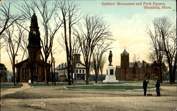 Soldiers Monument And Park Square Westfield Massachusetts