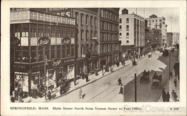 Main Street North From Vernon Street Springfield Massachusetts