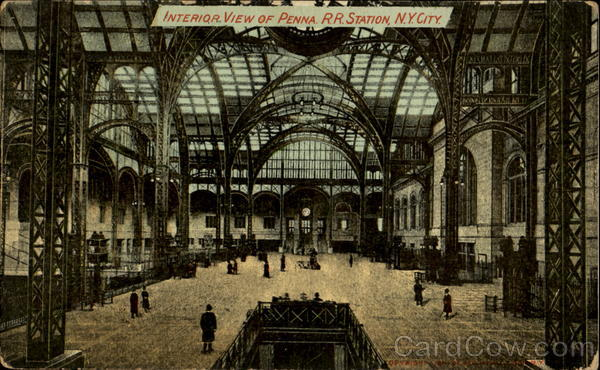 Interior View Of Penna R. R. Station New York