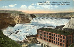 Great Falls Of The Missouri And Volta Dam And New Power House