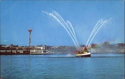Fire Boat Demonstration On Puget Sound
