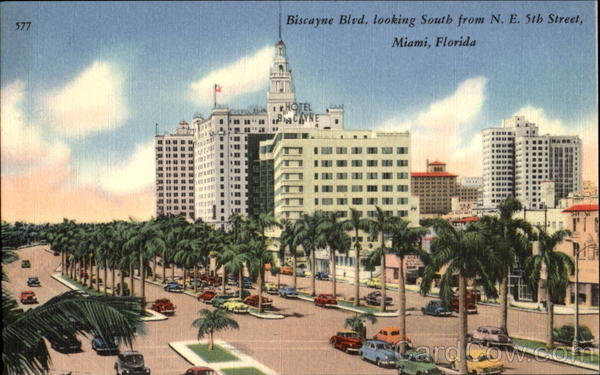 Biscayne Blvd. Looking South, N. E. 5th Street Miami Florida