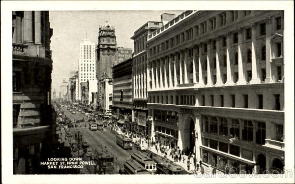 Looking Down Market St. From Powell San Francisco California