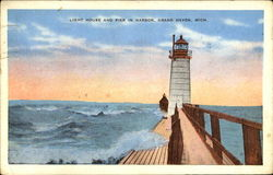 Light House And Pier In Harbor