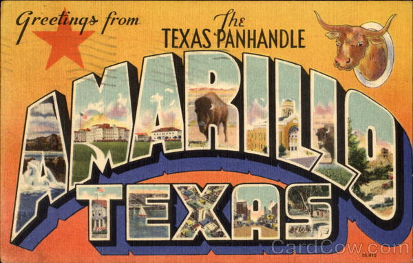 Greetings From The Texas Panhandle Amarillo Large Letter