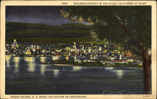 Business District Of San Diego At Night California