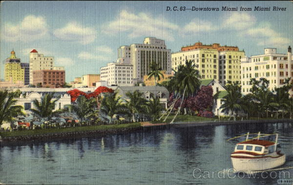 Downtown Miami From Miami River Florida