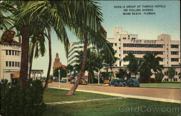 A Group Of Famous Hotels, Collins Avenue at Seventeenth Street Miami Beach Florida