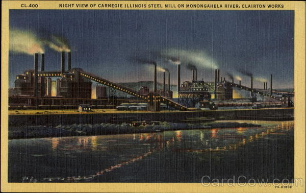 Night View Of Carnegie Illinois Steel Mill On Monongahela River Pittsburgh Pennsylvania
