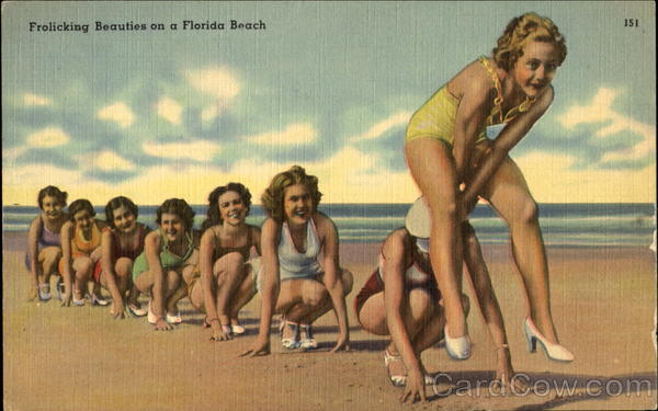 Frolicking Beauties On A Florida Beach Swimsuits & Pinup