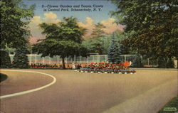 Flower Garden And Tennis Courts In Central Park