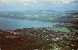 Air View Village Of Watkins Glen And Seneca Lake In The Finger Lakes