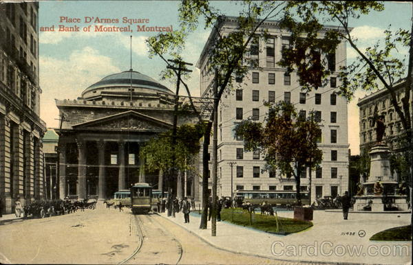 Place D'Armes Square And Bank Of Montreal Quebec