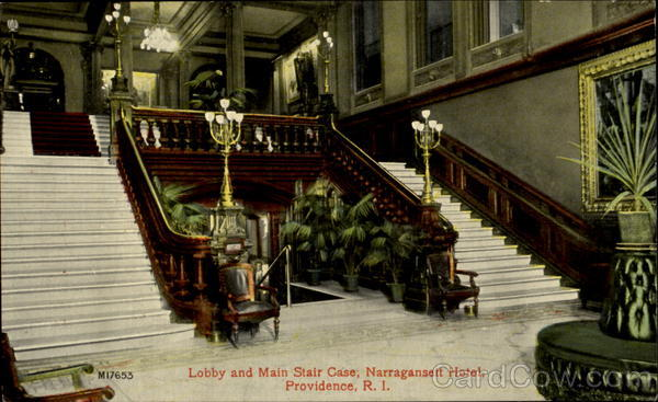 Lobby And Main Stair Case, Narragansett Hotel Providence Rhode Island