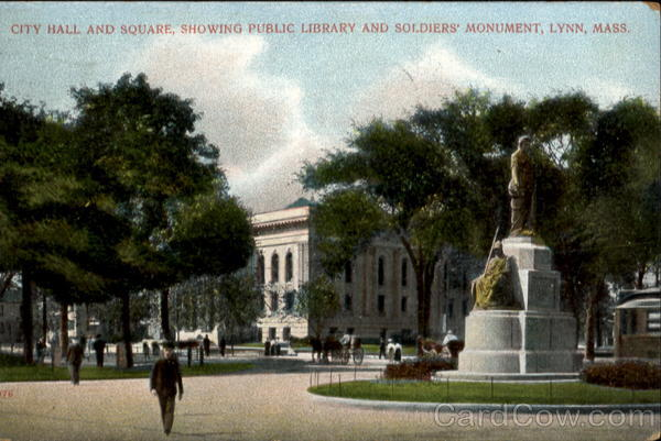 City Hall And Square, Showing Public Library And Soldier's Monument Lynn Massachusetts