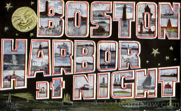Boston Harbor At Night Massachusetts Large Letter