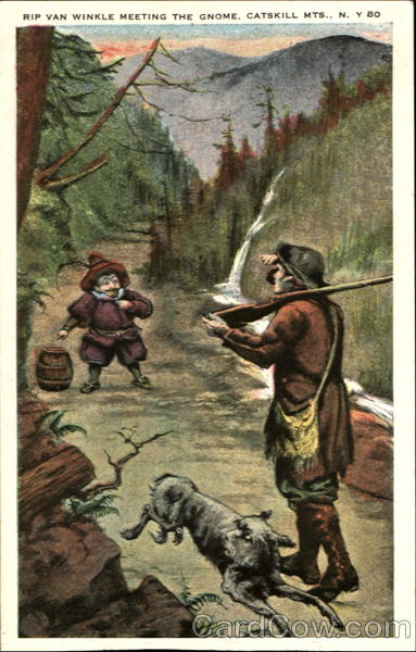 Rip Van Winkle Meeting The Gnome, Catskill Mountains Scenic New York