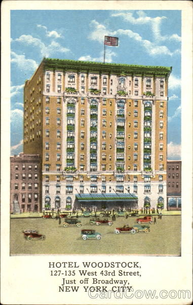 Hotel Woodstock, 127-135 West 43rd Street, Just Off Broadway New York City