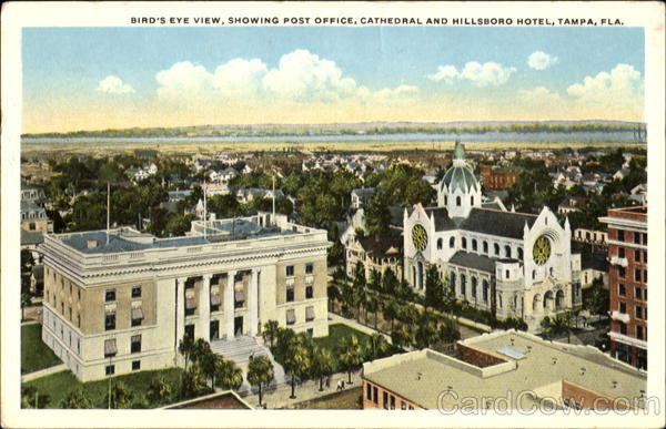 Bird's Eye View, Showing Post Office Cathedral And Hillsboro Hotel Tampa Florida