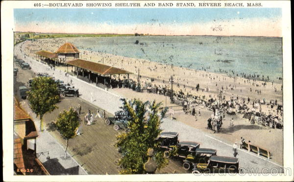 Boulevard Showing Shelter And Band Stand Revere Beach Massachusetts