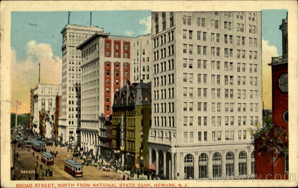 Broad Street North From National State Bank Newark New Jersey